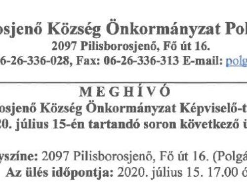 Meghívó Pilisborosjenő Község Önkormányzat képviselő-testületének 2020. július 15-én tartandó soron következő ülésére