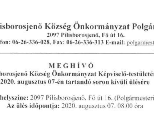 Meghívó Pilisborosjenő Község Önkormányzat képviselő-testületének 2020. augusztus 7-én tartandó soron kívüli ülésére