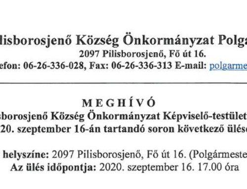 Meghívó Pilisborosjenő Község Önkormányzat képviselő-testületének 2020. szeptember 16-án tartandó soron következő ülésére