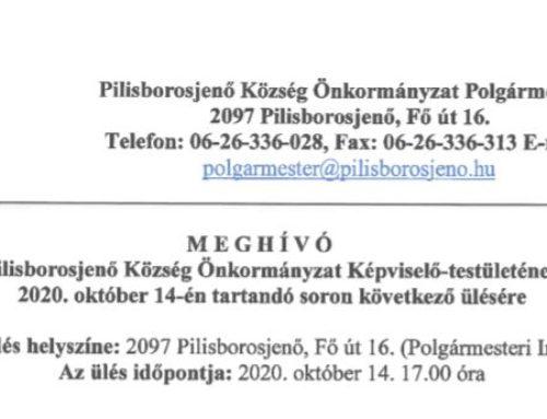 Módosított Meghívó Pilisborosjenő Község Önkormányzat képviselő-testületének 2020. október 14-én tartandó soron következő ülésére