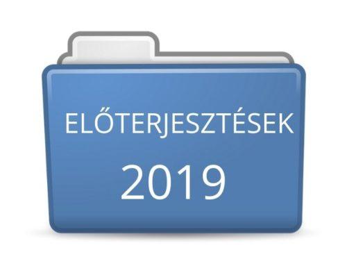 2019. évi előterjesztések